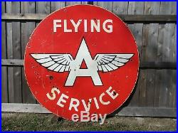 6ft. 72 Rare Authentic DSP Org. 1956 FLYING A SERVICE Gas & Oil Porcelain Sig