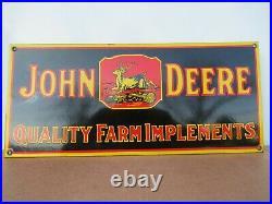 8x18 Old New Stock Original John Deere Farm Equip. Porcelain Gas & Oil Adv. Sign