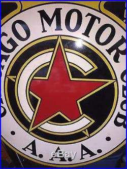 AAA Chicago Motor Club Double Sided Porcelain Original Oil And Gas Lubester