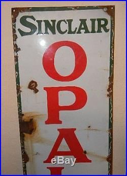 ANTIQUE 1930s RARE SINCLAIR OPALINE MOTOR OILS VERTICAL PORCELAIN 5ft SIGN NR