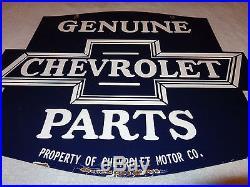 Antique Genuine Chevrolet Parts 24 X 19 1/2 Double Sided Porcelain Gas Sign Nr
