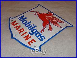 Antique Mobil Mobilgas Marine 11 3/4 Porcelain Gas & Oil Sign! Mcax! Pump Plate