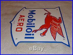 Antique Mobil Mobiloil Aero 11 3/4 Porcelain Gas & Oil Sign Pump Plate Aviation