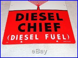 Antique Nos Texaco Diesel Chief Wide Spray 18 X 12 Porcelain Gas & Oil Sign