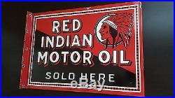 Antique Red Indian Motor Oil Porcelain Flange Gasoline Service Sign, 2 Sided