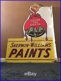 Antique Scarce Original Sherwin Williams Paints 48 X 34 Porcelain Flange Sign