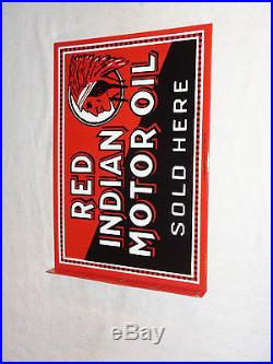 Antique Scarce Red Indian Motor Oil 18 X 12.5 Porcelain 2 Sided Gas & Oil Sign