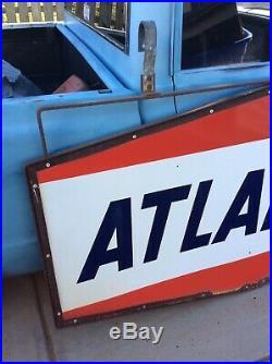 ATLANTIC Service Station Porcelain Sign with Hanging Bracket Gas & Oil