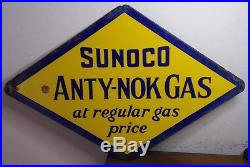 Antique 1930's Porcelain Sunoco ANTY-NOK GAS Sign Double Sided