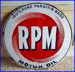 Antique 28 Porcelain RPM Gas Oil Gasoline Sign Double Sided