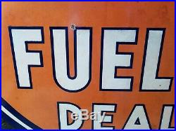 Antique All Original Porcelain 30 Inch One Sided Gulf Fuel Oil Dealer Sign