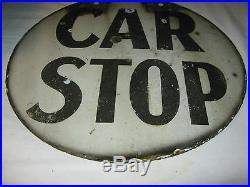 Antique American USA Porcelain Train Trolley Railroad Car Stop Gas Oil Art Sign