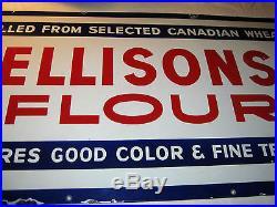 Antique Canadian Wheat Ellisons Cooking Flour Store Kitchen Porcelain Art Sign