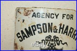Antique Original Sampson Harris Tailors New York Curved Corner Porcelain Sign