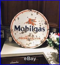 Antique Porcelain 30 Round Mobilgas Oil Advertising Sign Pegasus double sided