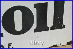 Antique Porcelain French Mobil Oil Gargoyle Advertising Sign Double Sided 1930