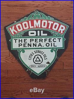 Antique Porcelain Koolmotor Oil Sign Cities Service