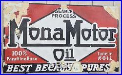 Antique Porcelain Mona Motor Oil Sign