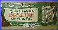 Antique Porcelain Orig SINCLAIR Opaline Motor Oil gas station advertising sign