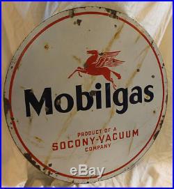 Antique Porcelain Round Mobilgas Oil Advertising Sign Pegasus double sided