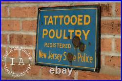 Antique Porcelain Tattooed Poultry Advertising Sign