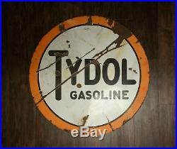 Antique TYDOL GASOLINE Double Sided Round Porcelain Sign 42 Gas Station Display
