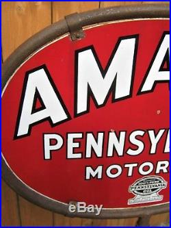Antique USA 1934 2 Sided Oval Porcelain Amalie Pa Motor Oil Gas Tool Art Sign Us