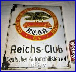 Antique USA German Gas Oil Tool Reichs Automobile Club Porcelain Sign Bird Flag