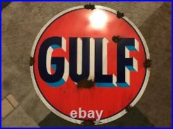 Antique look Good Gulf Porcelain style dealer gas oil pump plate large sign NICE