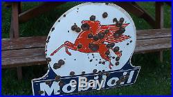 Antique porcelain mobiloil sign mobil gas and oil pegasus bullet holes very rare