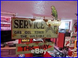 Antique style porcelain look Polly Gas dealer service gas pump 2 piece sign set