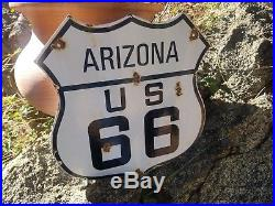 Arizona Route 66 vintage steel porcelain highway road sign From Chicago to LA