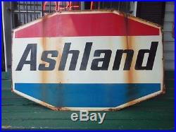 Ashland Oil Gas Double Sided 8'x5' 1960s Porcelain Enamel Metal Sign Kentucky Ky