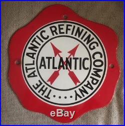 Atlantic Gasoline Porcelain Pump Plate Sign Fried Egg