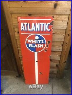 Atlantic White Flash Wayne 60 Gas Pump Face Porcelain Sign Vintage Oil Rare