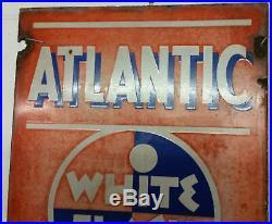 Atlantic White Flash gas pump sign gas station 42X15 man cave garage Porcelain
