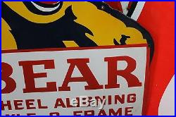Bear Wheel Aligning Porcelain Sign Axle Frame Service Die Cut Mobil Texaco