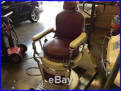 Beautiful Vintage HEAVY Porcelain 1930's Barber Chair & Back Bar GREAT DECOR