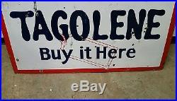 Big 2 Sided Porcelain Skelly Tagolene Gasoline Sign