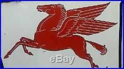 Big 2 Sided Vintage Mobilgas Pegasus Socony Vacuum Porcelain Dealer Sign