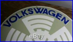 Big Heavy Porcelain 20 Inch Volkswagen Dealer Sign