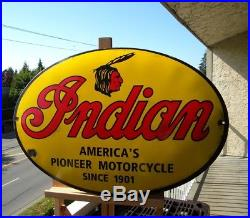 Big Indian Motorcycle Old Porcelain Sign Scout Roadmaster Chief Oil V2 Harley