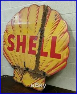 Big Old Vintage Porcelain Shell Gas Oil Sign 46 By 46. (b)