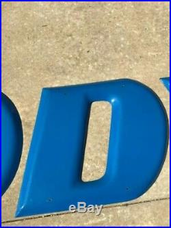Brilliant Blue Goodyear Porcelain Letters Sign Wingfoot GORGEOUS