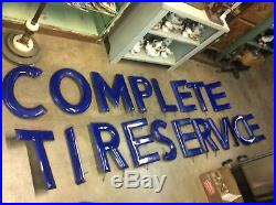 COMPLETE TIRE SERVICE Porcelain SIGN /LETTERS 15 1/4 TALL