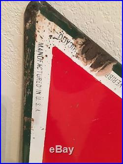 CONOCO TRIANGLE PORCELAIN SIGN FROM THE 1950s 45 inch wide 39 inch tall