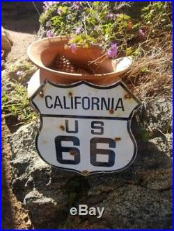California Route 66 vintage Steel porcelain road sign. From Chicago to LA 66