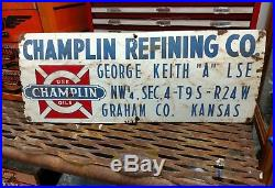 Champlin Refining Company Porcelain Oil Well Lease Gas Sign