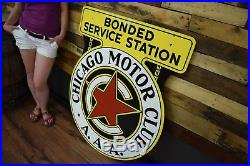 Chicago Motor Club AAA Porcelain Minty 2 sided Gas Oil Service Garage sign 1940s