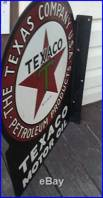 Collectable double sided porcelain Texaco Motor Oil flange
